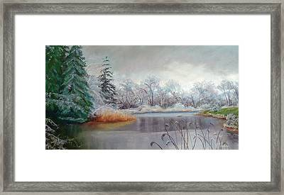 Icy Connecticut Morning Framed Print by Linda Preece