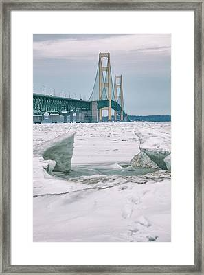 Framed Print featuring the photograph Icy Day Mackinac Bridge  by John McGraw