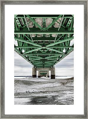Framed Print featuring the photograph Icy Mackinac Bridge In Winter by John McGraw