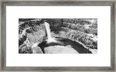 Icy Palouse Falls Panorama - Black And White Framed Print by Mark Kiver