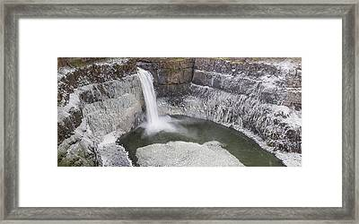 Icy Palouse Falls Panorama Framed Print by Mark Kiver