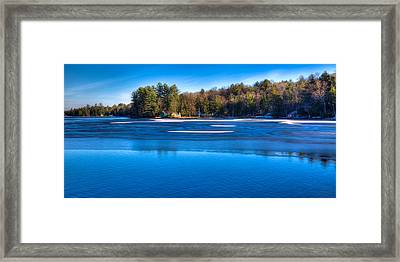 Icy Patterns On The Pond Framed Print