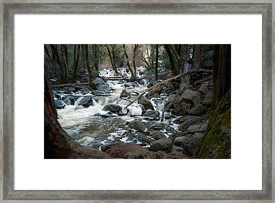 Icy River Below Bridalveil Yosemite California Framed Print