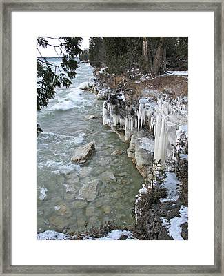 Framed Print featuring the photograph Icy Shores by Greta Larson Photography