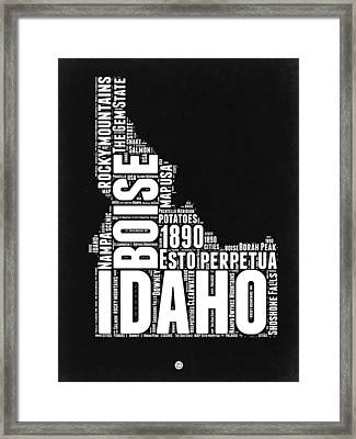 Idaho Black And White Map Framed Print
