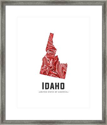 Idaho Map Art Abstract In Red Framed Print