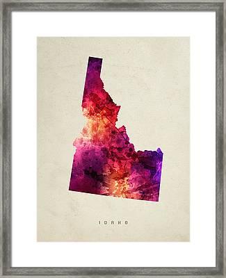 Idaho State Map 05 Framed Print
