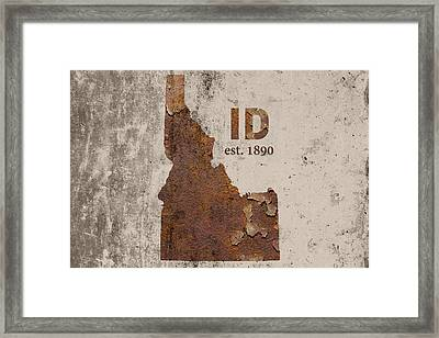 Idaho State Map Industrial Rusted Metal On Cement Wall With Founding Date Series 045 Framed Print by Design Turnpike
