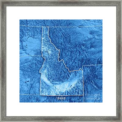 Idaho State Usa 3d Render Topographic Map Blue Border Framed Print