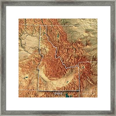 Idaho State Usa 3d Render Topographic Map Border Framed Print