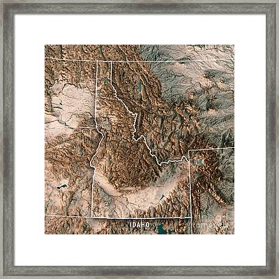 Idaho State Usa 3d Render Topographic Map Neutral Border Framed Print
