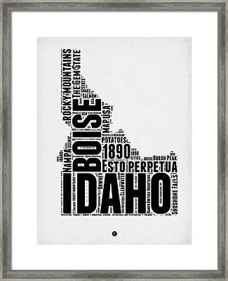 Idaho Word Cloud 2 Framed Print by Naxart Studio