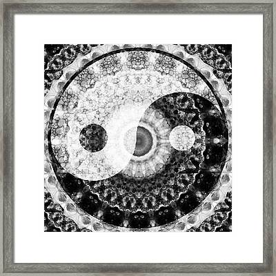 Ideal Balance Black And White Yin And Yang By Sharon Cummings Framed Print by Sharon Cummings