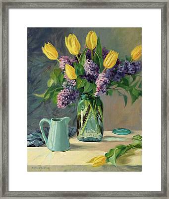 Ideal - Yellow Tulips And Lilacs In A Blue Mason Jar Framed Print