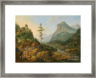 Idealized River Landscape With A Hunting Party Framed Print by MotionAge Designs