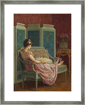 Idle Thoughts Framed Print by Auguste Toulmouche