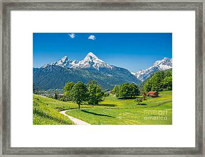 Idyllic Alpine Landscape With Meadows, Flowers And Snowy Mountains In Spring Framed Print by JR Photography