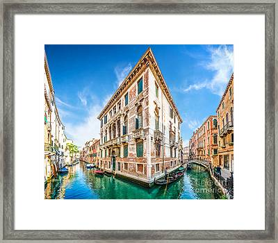 Idyllic Canal In Venice Framed Print