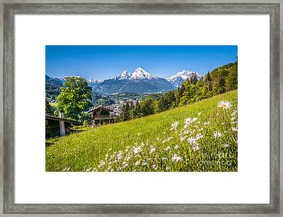 Idyllic Mountain Panorama Framed Print by JR Photography