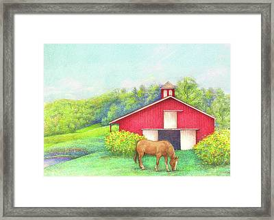 Idyllic Summer Landscape Barn With Horse Framed Print