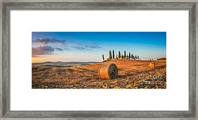 Idyllic Tuscany Landscape At Sunset Framed Print by JR Photography