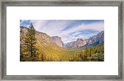 Idyllic View Of Yosemite Valley From Tunnel View Vista - Sierra Nevada California Framed Print by Silvio Ligutti