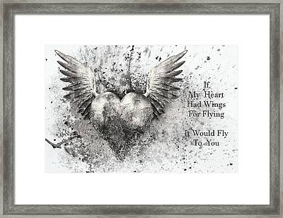 If My Heart Had Wings For Flying Black White Silver Framed Print
