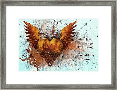 If My Heart Had Wings For Flying Framed Print by Georgiana Romanovna