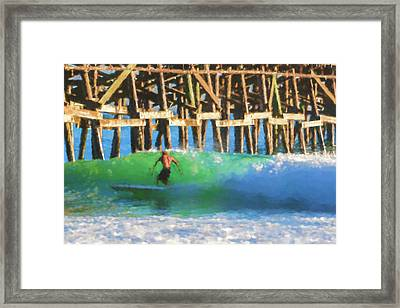 If The Dude Surfed Surfing Watercolor Framed Print