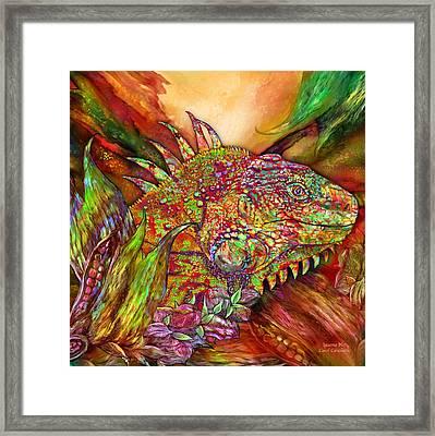 Iguana Hot Framed Print by Carol Cavalaris