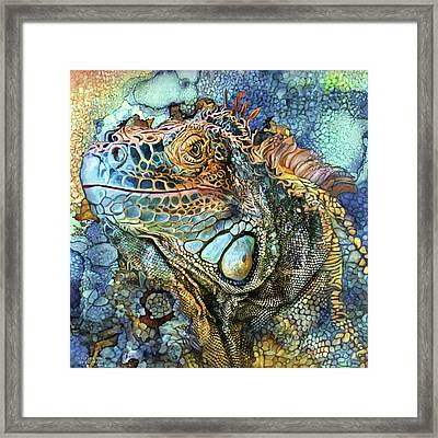 Framed Print featuring the mixed media Iguana - Spirit Of Contentment by Carol Cavalaris