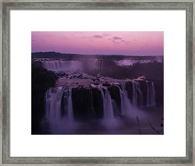 Iguazu Sunset In Violet Framed Print