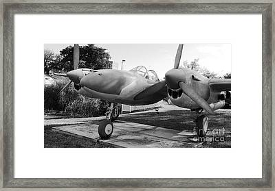 P- 38 Lightning Fighter Airplane Framed Print by Carlos Amaro