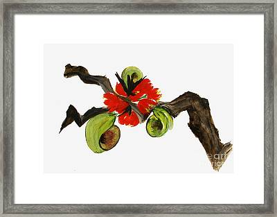 Ikebana - Red N Green Framed Print