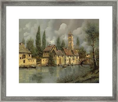 Il Borgo Sul Fiume Framed Print by Guido Borelli