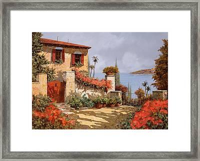 Il Giardino Rosso Framed Print by Guido Borelli