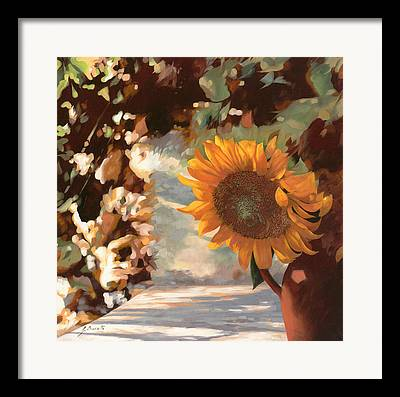 Sunflower Field Paintings Framed Prints