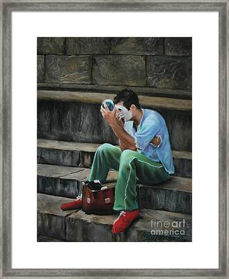 Il Mimo - The Mime Florence Italy Framed Print by Kelly Borsheim
