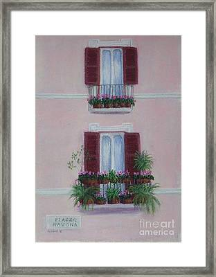 Il Terrazo In Roma  Piazza Navona Framed Print by Mary Erbert