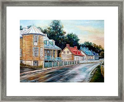 Ile D'orleans Quebec Street Scene Framed Print by Carole Spandau