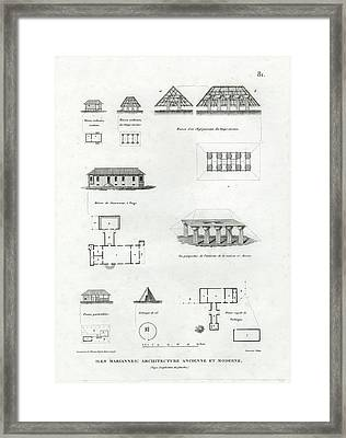 Framed Print featuring the drawing Iles Mariannes Architecture Ancienne Et Moderne by E Olivier