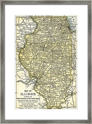 Illinois Antique Map 1891 Framed Print