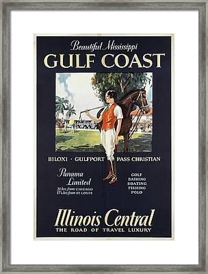Illinois Central Railroad - Gulf Coast, Mississippi - Retro Travel Poster - Vintage Poster Framed Print