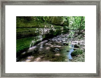 Illinois Sandstone Canyon And Stream Framed Print by Sven Brogren