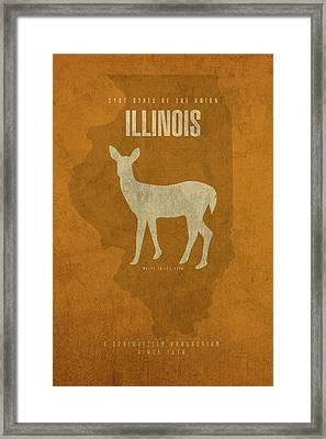 Illinois State Facts Minimalist Movie Poster Art Framed Print