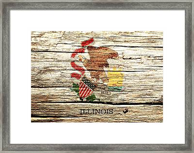 Illinois State Flag 3w  Framed Print by Brian Reaves