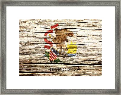 Illinois State Flag 4w  Framed Print by Brian Reaves