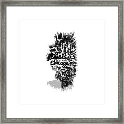 Illinois Typographic Map 5a Framed Print by Brian Reaves
