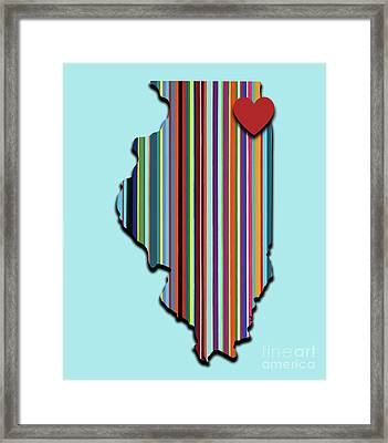 Framed Print featuring the mixed media Illinois With Love Geometric Map by Carla Bank