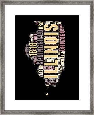 Illinois Word Cloud Map 1 Framed Print by Naxart Studio